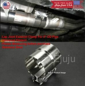 """Stainless Lap Joint Exhaust Clamp Sleeve Band For Toyota  2"""" Exhaust OD Pipe"""
