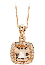Auction: 1.50CT Cushion Morganite and Diamond Pendant 14K Rose Gold