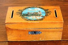 English ? Antique Vtg Wood Decal Bank Box Castle by the Sea Fort Souvenir