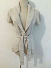 BCBG MAX AZRIA 1-Button Belted Cardigna Sweater Oatmeal Size XS