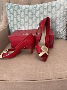 "Diana Ferrari ""Angelique"" Red Patent Leather Peep Toe Heels Sz 8.5 Vintage Look"
