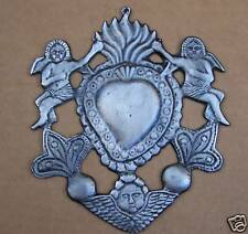HUGE Sacred Heart w Angels Tin/Silver Milagro Ex Voto 2