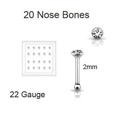 Lot 20 Silver Round Nose Bone Stud Ring 2mm Clear 22G