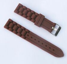 New 20mm Silicone Rubber Watch Band Strap - Light Brown