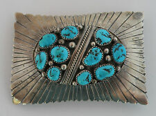 Old Native American Navajo sterling Turquoise scalloped belt buckle- Alvin Monte