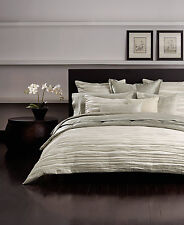 NEW Donna Karan Home Bedding Tidal QUEEN Duvet Cover Silver MSRP $375 F461