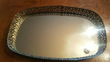 Vntg Mirrored Vanity Tray Brass Gold Tone Filigree 6 X 12 Rectangle Round Edges