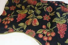 """JC Penny HOME Scalloped VALANCE 19 x 48""""  BLACK Red Green FRUIT Cord Edge"""