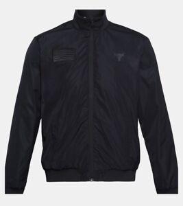 New UA Under Armour Project Rock Freedom Bomber Jacket Black Size XL