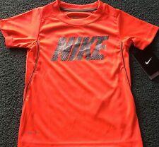 NWT Nike Boys 6 Neon Red/Gray/White NIKE Micro Mesh Dri-Fit Shirt 6