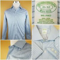 MENS BROOKS BROTHERS Blue 100% Supima Cotton Dress Shirt Milano Fit 15-32