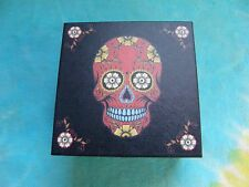 Day of The Dead Sugar Skull Red & Black 4 Inch Jewelry Box