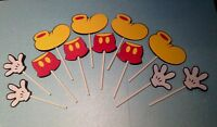 """MICKEY MOUSE CUPCAKE TOPPERS Set of 12 Pieces 2.5"""" H Party Decorations"""