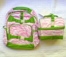 Pottery Barn Kids girls LARGE Backpack &  RETRO Lunchbox monogram ELLA pink new