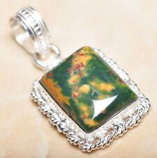 """Handmade Natural Bloodstone Jasper 925 Sterling Silver Pendant 1.75"""" #P09099"""
