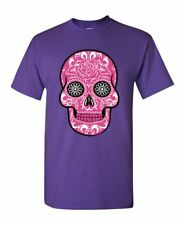 Pink Sugar Skull With Roses T-Shirt Day of the Dead Cotton Tee
