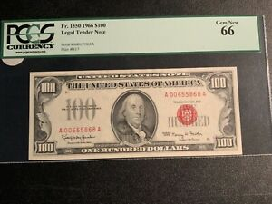 1966 $100 Legal Tender FR#1550 PCGS Gem New 66