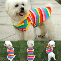 Rainbow Stripe Pet Shirt Vest Dog Clothes Puppy Cat Apparel Costume Clothes#