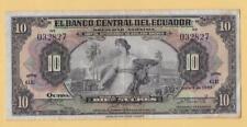 1943 Banco Central del Ecuador 10 Sucres QUITO American Banknote Company P92-b