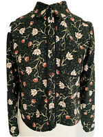 Topshop Green Floral Blouse Button Up Shirt Peter Pan Collar Boho Cropped Size 8
