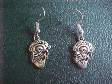 Miniature Metal Skeleton with Guitar & Sombrero Dangle Earrings