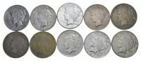 (10) Cull 1922-1925 Peace Silver Dollars 1/2 Roll - 90% $10 Face Coin Lot