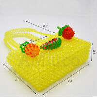Womens Beaded Bag Yellow Fruit Crystal Handbag Handmade Weave Acrylic Clutch Bag