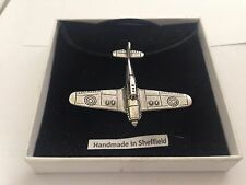 Hurricane Plane HCAKR Pewter Emblem ON A BLACK CORD Necklace Handmade
