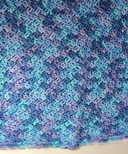 Hand Knitted Afghan Blanket Throw Blue Green Lavendar Pastels Baby 34 x 34 *972