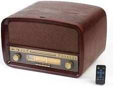 Nostalgie Holz Retro Musik Anlage Plattenspieler CD MP3 USB Radio Kompaktanlage