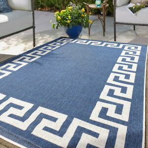 Blue Geometric Greek Outdoor Rugs for Garden Reversible Weatherproof Patio Rug