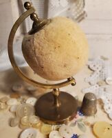 Vintage Globe Pin Cushion on Brass Stand and Old Thimble