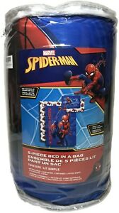 Spider-Man Web Crawl Boys Twin Size Comforter & Sheet Set (5 Piece Bed In A Bag)