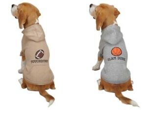 Casual Canine Sports Hound Hoodie Jacket Coat FOOTBALL TAN BASKETBALL GRAY Large