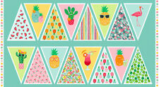FRUITY Bunting Panel 100% Cotton fabric Makower Size 110 cm x 60 cm to make up