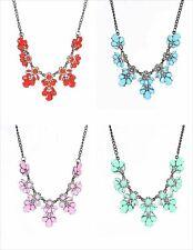 Flor Diamantes de Imitación Resina Gota Collar Colgante Babero Collar de Moda