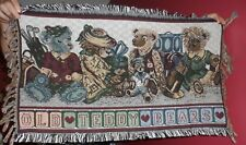 """Old Teddy Bears"" small throw tapestry wall hanging, couch back cover  35"" x 19"""