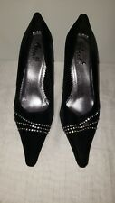Anna Black with Silver Embellished Pointed Toe Evening Pump Heels Size 7.5