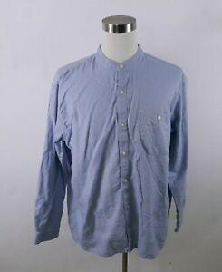 Orvis Mens Linen Blend LS Button Up Light Blue Banded Collar-less Dress Shirt XL