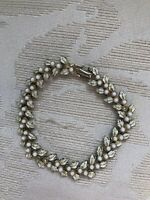 Vintage Coro White Gold Beaded Botanical Chainlink Bracelet Jewelry