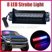 8 LED Coche Luz Estroboscópica Intermitente Modo Emergencia Vehículo Guión Aviso