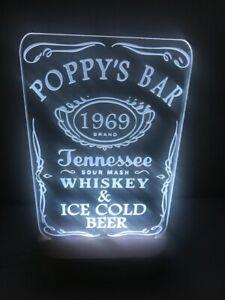 "Customized Jack Daniels ""Poppy's Bar"" LED sign light 240mm x 140mm"