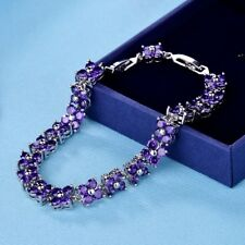 Women Charms Engagement Purple Amethyst Crystal Silver Chain Bracelet Jewelry