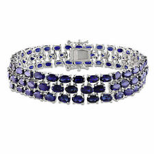 """Amour Sterling Silver 37 CT TGW Created Blue Sapphire Bracelet 7"""""""