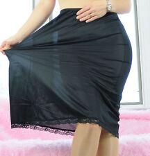 VTG Deena Black Scalloped Lace Classic Soft Nylon Half Slip Skirt sz M