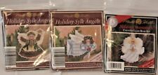 Mill Hill Holiday Sylk Angels Lot of 3 Ornaments Vintage Glass Bead Kit New