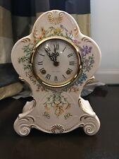 Franz Hermle Mantle Clock Porcelain Fr Floral Horticulture Estate Vintage Z25