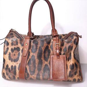 Dolce & Gabbana Leopard Print Boston Satchel Handbag Purse Brown Animalier D&G