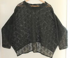 Transparente -Black Label -Lagenlook Funky Hi-Low Lacy Knit Mesh Sweater O/S
