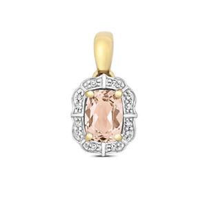 9ct Yellow Gold Rectangle Shaped Morganite and Diamond Pendant